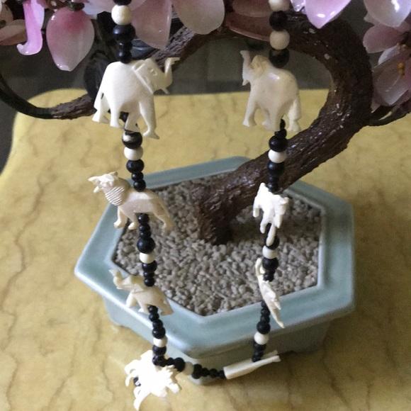 antique Jewelry - Antique engraved elephant ivory necklace